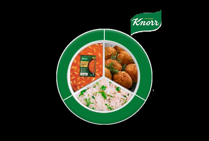 Çıtır Havuçlu Zencefilli Zerdeçallı Domates Çorbası, Balık Köfte, Bezelyeli Pilav
