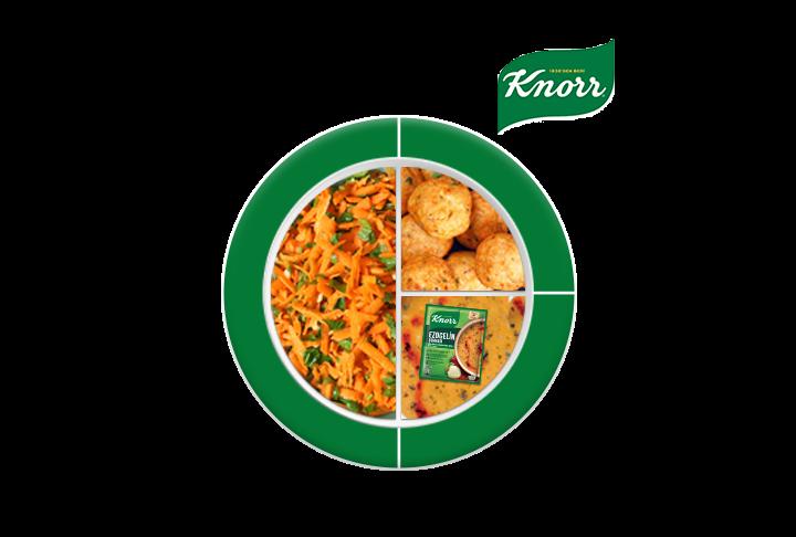 Knorr Biberli Ezogelin Çorbası, Tavuk Köfte, Havuç Salatası