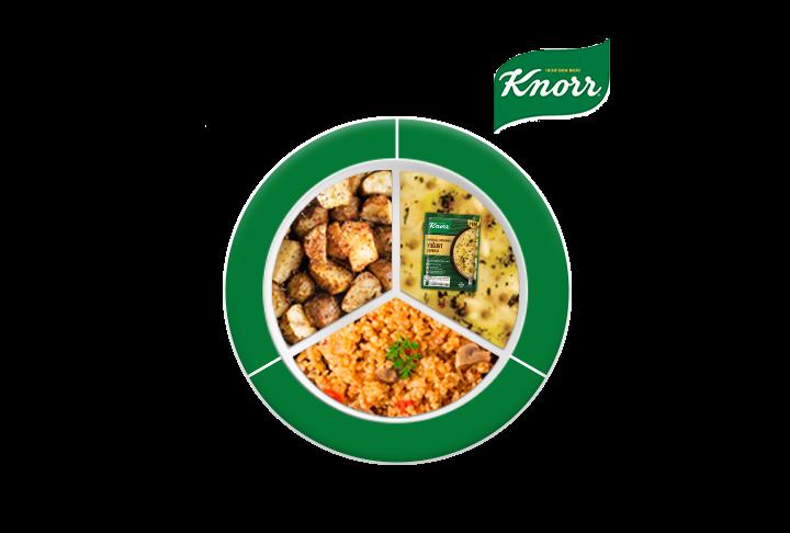 Knorr Zerdeçallı Mercimekli Yoğurt Çorbası, Fırında Yer Elması, Mantarlı Bulgur Pilavı